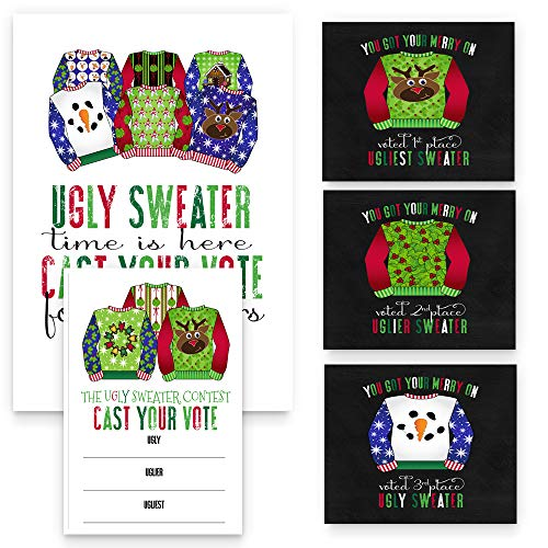 Ugly Sweater Game Pack Christmas Party Supplies - 25 Voting Cards 1 Sign 3 Holiday Wine Bottle Stickers (Per Set) -