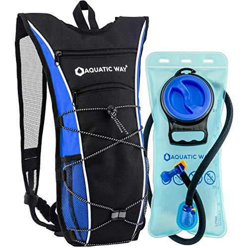 Aquatic Way Hydration Backpack with 2 Liter BPA Free Water Bladder - Best for Hiking, Biking, Running, Climbing, Marathon Pack