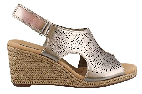 (CLARKS Women's, Lafley Rosen Wedge Sandals Pewter 8.5 W)