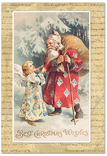 B9779DXSG Box Set of 12 Holly Jolly Santa Christmas Note Card Featuring a Vintage Style Santa and Angel in a Winter Wonderland; with (Angels Note Card)