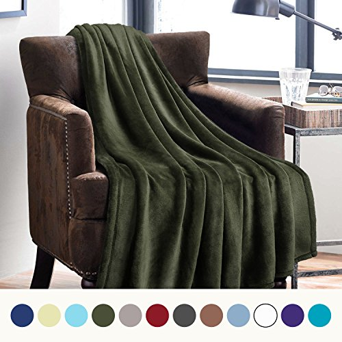 Microfiber Olive Green (Flannel Fleece Luxury Blanket Olive Green Throw Lightweight Cozy Plush Microfiber Solid Blanket by Bedsure)