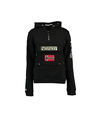 Geographical Norway Felpa con Cappuccio Donna Nero 48