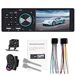OmkuwlQ BT 1 DIN 4.1Inch Car Stereo Radio AUX MP5 Player Phone Mirror Link+Free Camera FM Dual USB RCA Digital Media Receiver