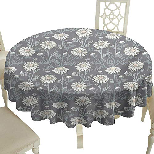 wipeable Round Tablecloth 65 Inch Floral,Cottage Daisy Petals Field Summer Gardening Theme Chamomile Flourish,Grey Coconut Sage Green Great for,Outdoors & More ()