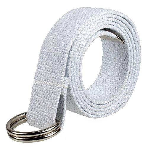 Gelante Canvas Web D Ring Belt Silver Buckle Military Style for men women-2052-White - Belt Web White