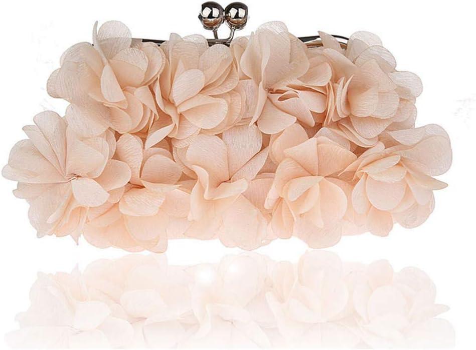 Yuqianqian Cartera de Mano Estilo Elegante para Mujer Lady Silk Flower Evening Handbags Mujeres Tarde Embragues Banquete Bolsa de Cosméticos (Color : Pink) Apricot