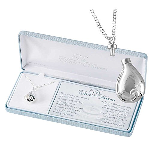 Dicksons No Tears in Heaven Memorial Urn Charm Sterling Silver 24 inch Pendant Necklace -