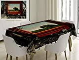Unique Custom Cotton And Linen Blend Tablecloth Modern Decor Surreal Landscape Forest Tree In Frame Stones Art Photo Charcoal Grey Dark Orange GreenTablecovers For Rectangle Tables, 86 x 55 Inches