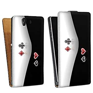 Diseño para Sony Xperia Z L36h DesignTasche Downflip black - Cards