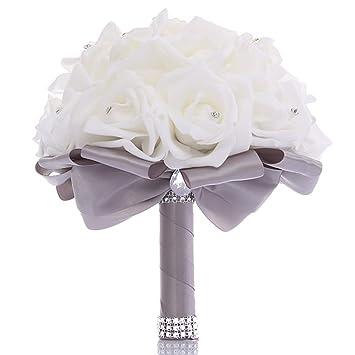 7f4bd93373db5 TRUE LOVE GIFT Wedding Bouquet, Bridesmaid Toss Bouquet Hand Made  Artificial Rose Flowers Diamond Satin Bride Bouquets for Wedding,  Engagement ...