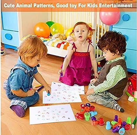Kesote Set di Timbri per Bambini Timbri di Plastica in Stile di Animali Auto Inchiostrazione Perfetto per Fai-da-Te Set di 26 Pezzi