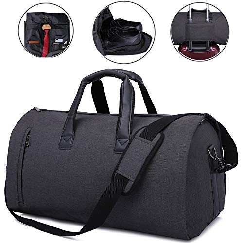 - Carry On Garment Bag for Travel & Business Trips with Shoulder Strap Duffel Bag with Shoe Pouch (Black)