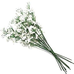 AerWo Silk Artificial Baby Breath Gypsophila Flower for Wedding Home Party Decor, White 10