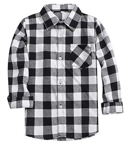 Little Boys Cotton Long Sleeves Gingham Plaid Flannel Shirt Tops, White Black, Age 7T-8T (7-8 Years) = Tag 140 (Boys Black Gingham Shirt)