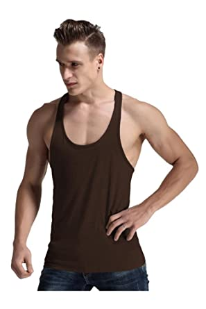 4d7a25cd66d65 Amazon.com: Men Fashion Blank Stringer Y Back Cotton Gym Sleeveless Shirts  Tank Top: Clothing