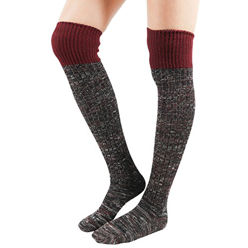 WowFoot Girls Over-The-Knee Thigh High Socks Womens Leg warmer Knit Winter Leggings (A-Wine) (Leggings Cotton Wool)