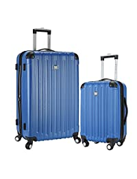 """Travelers Club 2 Piece Luggage Set with Two-in-ONE Cup and Phone Convenience Pocket on Back of Luggage Includes 28"""" Suitcase and 20"""" Carry-On, Blue Color Option"""