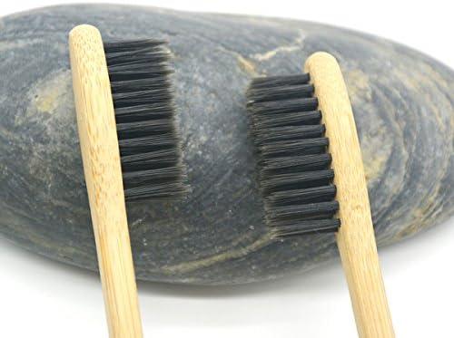Healifty natürliche Bambus Zahnbürsten aus Holz Eco freundliche Zahnbürste mit weichen schwarzen Borsten (5 Stücke Natürliche)
