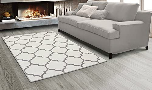 Sweethome King Collection Cream Moroccan Trellis Design 5'3″ X 7'0″ Area Rug