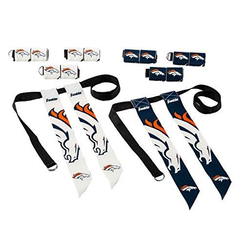 Franklin Sports Denver Broncos Flag Football Set - 8 Flag Belts - 8 Player - Self Stick Tear-Away Flags - NFL Official Licensed Product