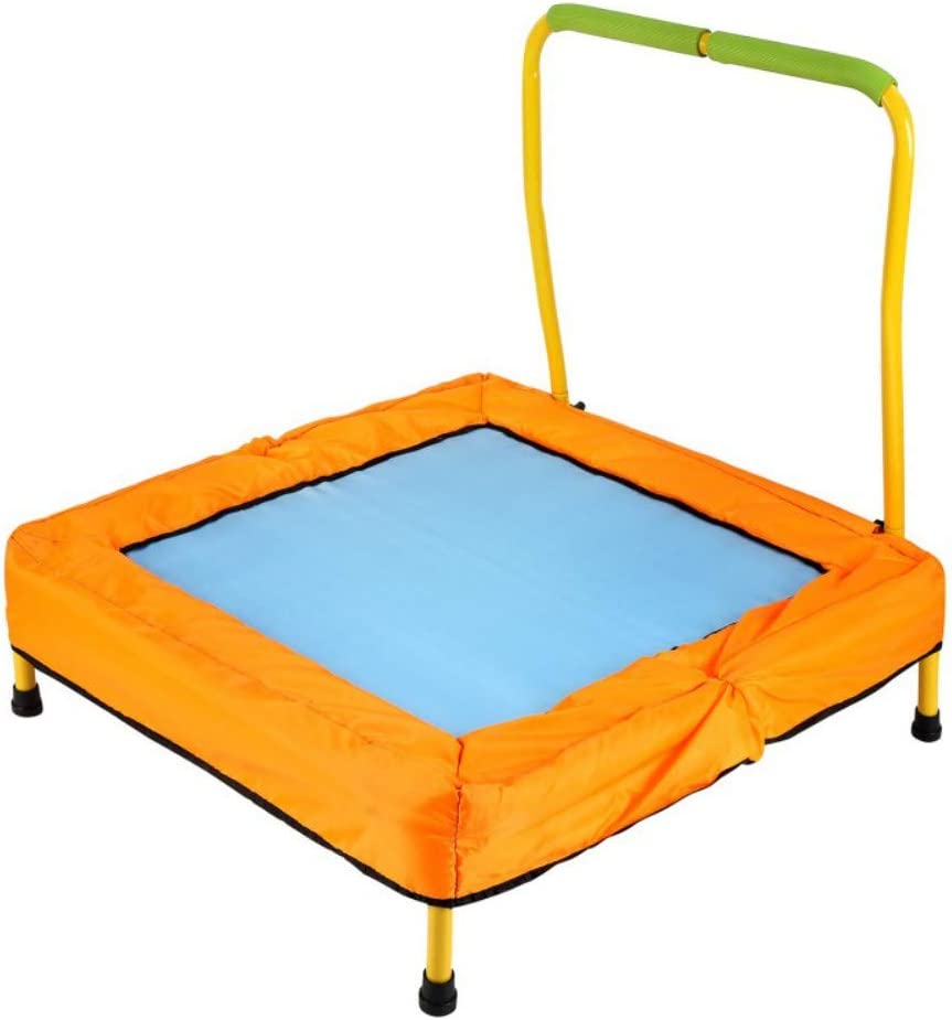 """Escolourful 36"""" Foldable Mini Trampoline, Fitness Rebounder, Exercise Trampoline for Kids Adults Indoor/Garden Workout, Durable Construction with Padded Frame Cover and Handle Bar"""