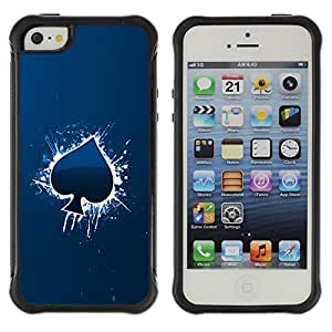 BullDog Case@ Cool Blue Ace Of Spade Rugged Hybrid Armor Slim Protection Case Cover Shell For iphone 5S CASE Cover ,iphone 5 5S case,iphone5S plus cover ,Cases for iphone 5 5S