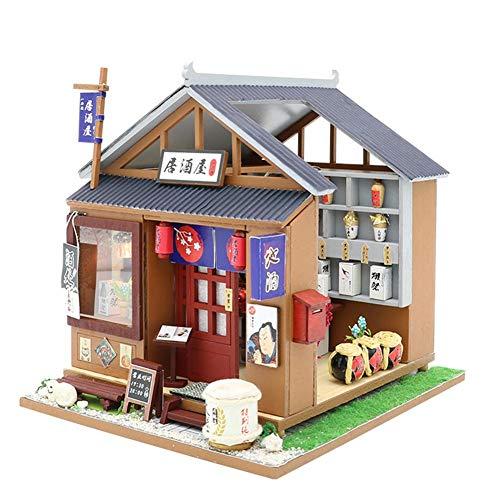 Domybest DIY Wooden Dolls House Handcraft Miniature Kit, House Model Furniture Building Blocks Gift Toys (Japanese Lzakaya)