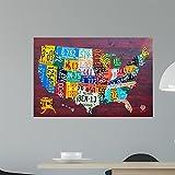 Wallmonkeys License Plate Map Usa Wall Mural by Design Turnpike (36 in W x 24 in H) WM310258