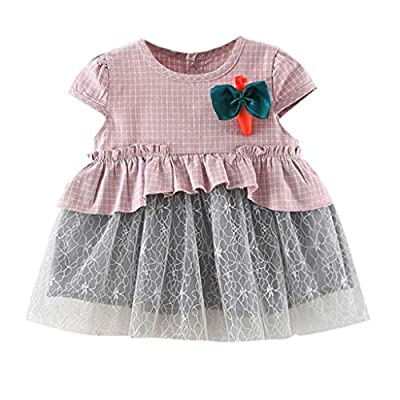 6M-24M Toddler Baby Girls Dresses Ruched Lace Patchwork Tulle Skirt Carrots Bowtie Party Princess Dresses
