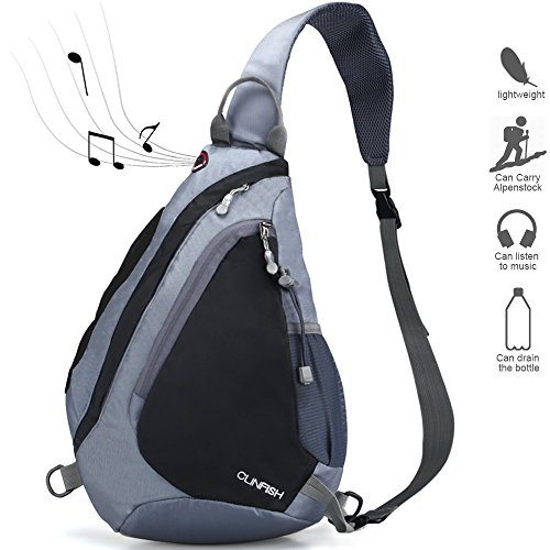 Price comparison product image Sling Backpack, Chest Bag CLINFISH Water Resistant Nylon Shoulder Pack Small Outdoor Lightweight Crossbody Daypack for Hiking Camping Fishing Cycling Climbing for Men & Women (gray)