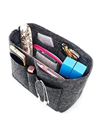 Enerhu Felt Insert Bags Handbag Tote Purse Organizer 10 Pockets Bag in Bag Backpack Travel Storage Pockets Grey Large