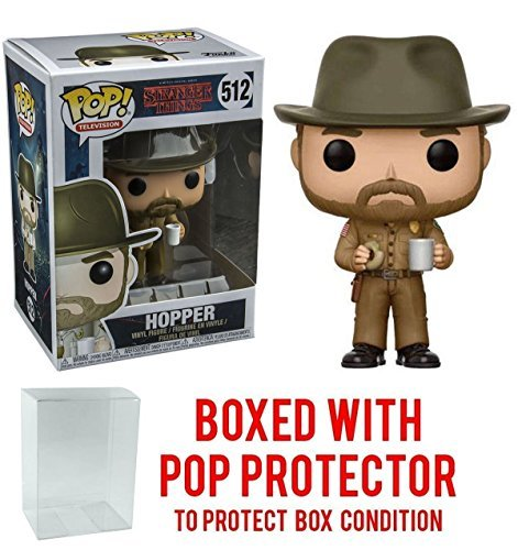 Stranger Things Hopper with Donut Pop! Vinyl Figure and (Bundled with Pop BOX PROTECTOR CASE) ()