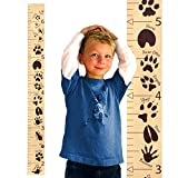 "wall hanging growth chart boy - Growth Chart Art | Hanging Wooden Height Growth Chart to Measure Baby, Child, Grandchild - Animal Tracks Ruler with Brown Paw Prints and Numerals - Wall Decoration for Girls and Boys - 58""x5.75"""