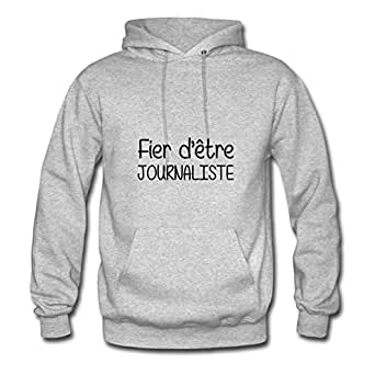 Women Hoodies Casual Journalist / Journaliste Painting X-large With Cotton Grey
