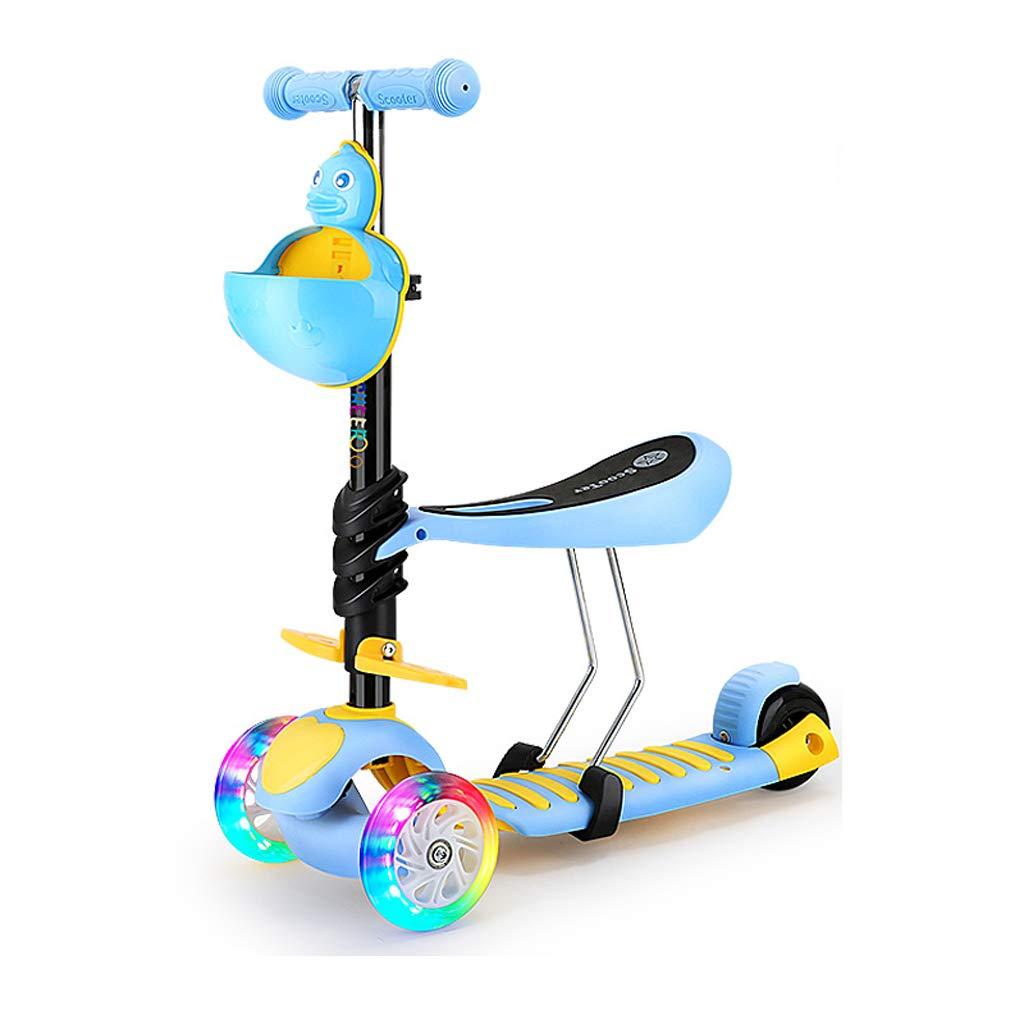 3-in-1多機能幼児ウォーカー子供のための3つの車輪キックスクーター取り外し可能な調節可能な座席と軽い点滅車輪を持つミニキックスクーター年齢2-12 (色 : 青)  青 B07HKZ1NQH