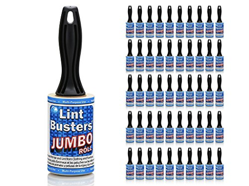 USA Made Pet Hair Lint Roller Refill Sticky Adhesive Remover 5,000 Sheet Bulk Value Pack for Clothes Furniture by IHI (Jumbo 50-Pack) by Ideal Home Innovations