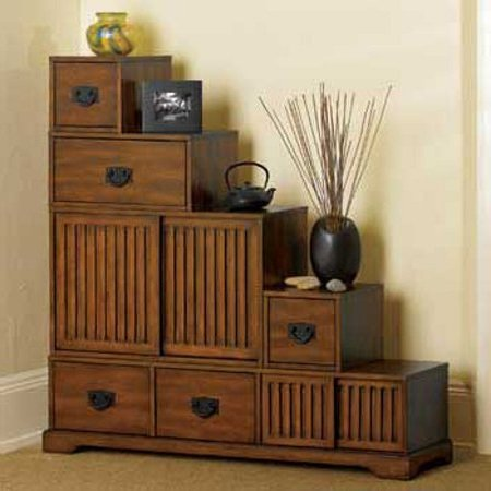 Reversible Japanese Style Furniture   Tansu Wooden Step Chest W/ Storage  Drawers U2013 Rubbed Walnut