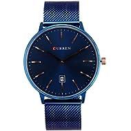 [Sponsored]Mens Watch Ultra-Thin Case Blue Milanese Mesh Business Watch Calendar Minimalist Watches