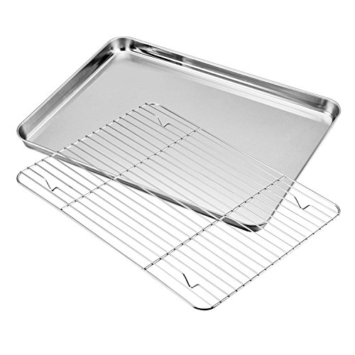 Mike pups Baking sheets Rack Set, Cookie pan Nonstick Cooling Rack & Cookie sheets Rectangle Size 12 x 10 x 1 inch,Stainless Steel & Non Toxic & Healthy,Superior Mirror Finish & Easy Clean (12101) by Mike pups