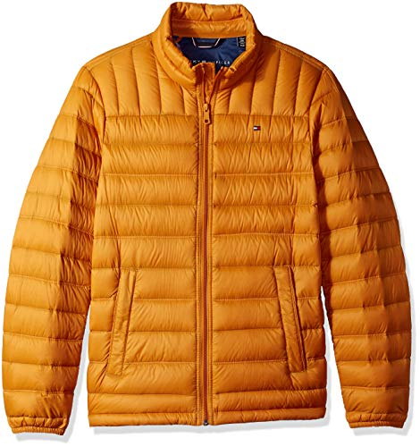 Tommy Hilfiger Men's Packable Down Jacket (Regular and Big & Tall Sizes), Gold, Medium
