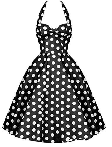 Grande de Negro Lunares DATO del Vestido 50s Retro la Hepburn Falda Delgado Rockabilly Tutú H4Ov0n4