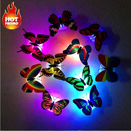 Miklan Colorful Changing Butterfly LED Night Light Lamp Home Room Party Desk Wall Decor