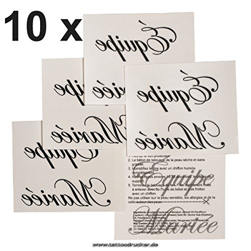 10 x Équipe Mariée Tatouages - tatouage de mariage - Team Mariée - EVJF