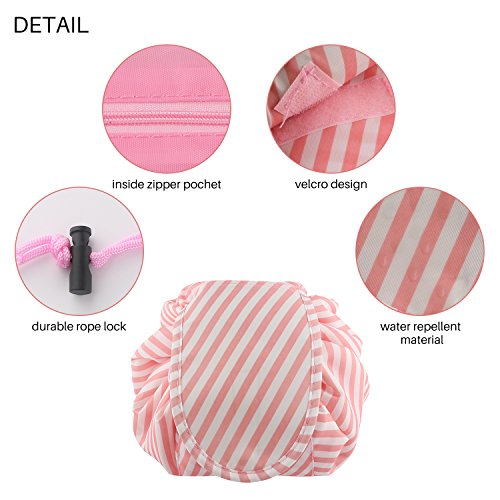 Lazy Portable Makeup Bag Large Capacity Waterproof Travel Cosmetic Bag Quick Easy Pack Round Travel Toiletry Bag Perfect for Storage Pretty Fashion Pattern Drawstring Bag (Pink stripe) by Edapter (Image #3)