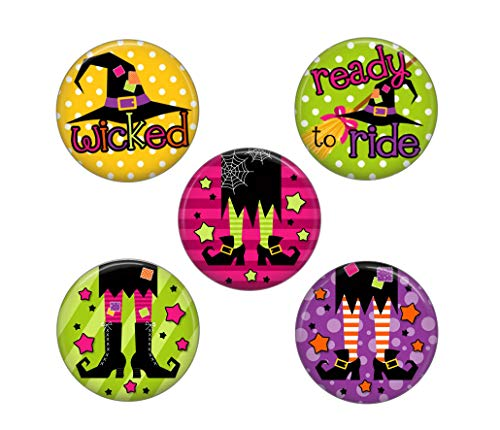 - Halloween Magnets - 5 Funny Witches Set - Cute Colorful Round Magnets for Home Office or School
