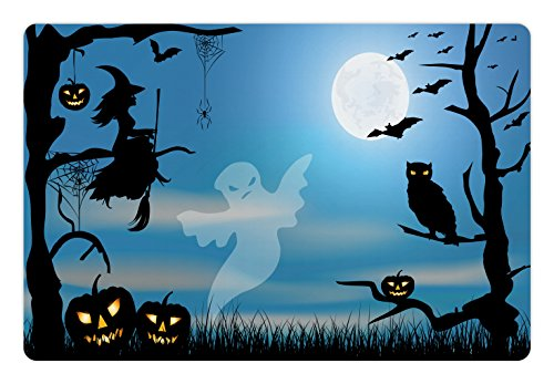 Lunarable Halloween Pet Mat for Food and Water, Ghost Witch Owl Spider Web Bats Trees Fantastic Grange Forest at Night, Rectangle Non-Slip Rubber Mat for Dogs and Cats, Blue Black White