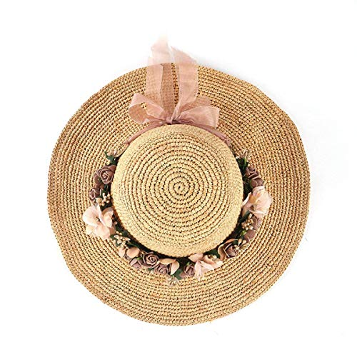Hat Señoras Crochet Grass Beige Tamaño Eaves De Yisaesa Big Rosette Del Verano Rafei Un Beige color Tamaño Gorra Playa 8xqdX
