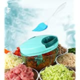 Tenta Kitchen 330ml Pull String Manual Food Chopper/Vegetable Slicer/ Chopper/ Dicer/Mincer - To Chop Fruits,Vegetables,Nuts,Herbs,Onions,Garlics - With 8 Inch Premium Silicone Cleaning Brush