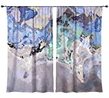 Abstract art draperies, set with two 50''x84'' panels in blue and gray, Out of the Blue