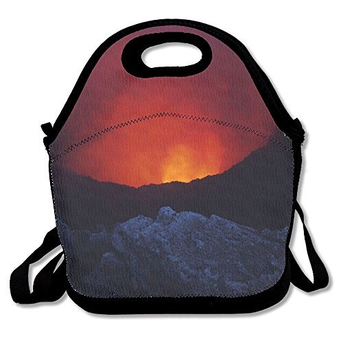 Nature Landscape Volcano Lava Rock Nicaragua Smoke Crater Photography Volcanic Eruption Eruption Lunch Tote Bag Bags Awesome Lunch Handbag Lunchbox Box For School Work Outdoor